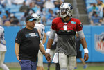 Carolina Panthers owner David Tepper, left, jokes with quarterback Cam Newton (1) during a Fan Fest practice at the NFL football team's training camp in Charlotte, N.C., Friday, Aug. 2, 2019. (AP Photo/Chuck Burton)