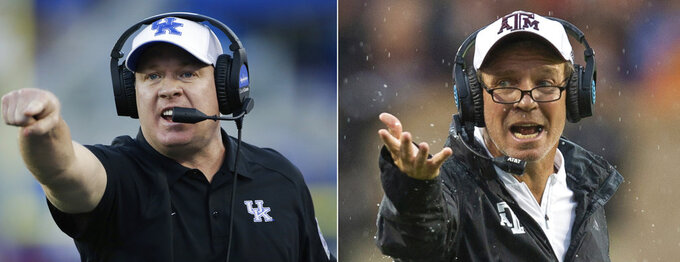 FILE - At left, in a Sept. 30, 2017, file photo, Kentucky head coach Mark Stoops yells to his team during the second half of an NCAA college football game against Eastern Michigan, in Lexington, Ky. At right, in a Sept. 8, 2018, file photo, Texas A&M head coach Jimbo Fisher reacts after a call during the first half of an NCAA college football game against Clemson, in College Station, Texas. No. 13 Kentucky visits Texas A&M in the first meeting between the schools in 65 years. Their respective coaches have a more recent history together at Florida State, and Mark Stoops and Jimbo Fisher will apply that knowledge to their game plans. (AP Photo/File)