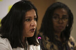 International Amnesty's Americas Executive Director Erika Guevara-Rosas, left, sitting next to International Amnesty's Brazil Executive Director Jurema Werneck, speaks during a press conference in Brasilia, Brazil, Tuesday, May 21, 2019. Amnesty International is launching a campaign called