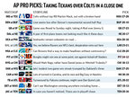 Graphic shows NFL team matchups and predicts the winners in Week 12 action; 3c x 4 1/8 inches; 146 mm x 104 mm;