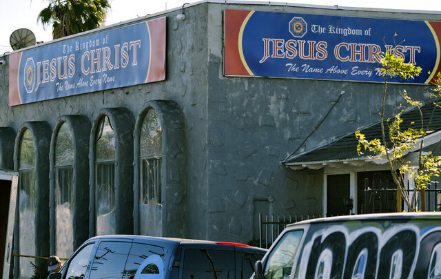 The front of the Kingdom of Jesus Christ Church is seen in the Van Nuys section of Los Angeles on Wednesday, Jan. 29, 2020. The FBI raided a Philippines-based church in Los Angeles to arrest leaders of an alleged immigration fraud scheme that resulted in sham marriages. Federal prosecutors said Wednesday that three leaders of the local branch of the Kingdom of Jesus Christ were arrested in morning raids. (AP Photo/Richard Vogel)