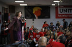 Democratic presidential candidate Sen. Amy Klobuchar, D-Minn., speaks at a culinary workers union hall Saturday, Jan. 11, 2020, in Las Vegas. (AP Photo/John Locher)
