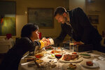 This image released by HBO shows Peter Dinklage, left, and Jamie Dornan in a scene from