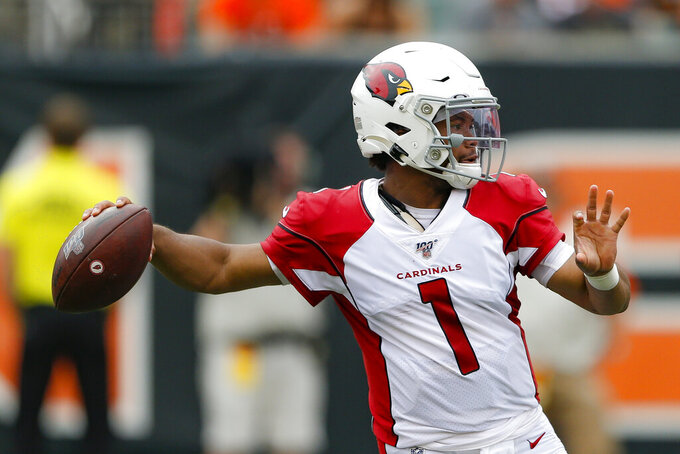 Arizona Cardinals quarterback Kyler Murray looks to throw in the first half of an NFL football game against the Cincinnati Bengals, Sunday, Oct. 6, 2019, in Cincinnati. (AP Photo/Gary Landers)