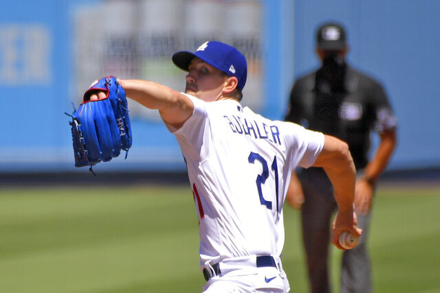 Los Angeles Dodgers starting pitcher Walker Buehler throws to the plate during the first inning of a baseball game against the San Francisco Giants Sunday, Aug. 9, 2020, in Los Angeles. (AP Photo/Mark J. Terrill)