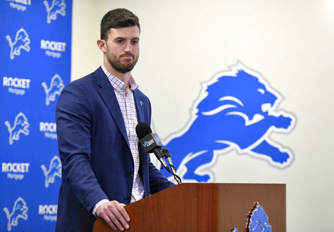 Detroit Lions tight end Jesse James speaks during a press conference at the NFL football team's training facility in Allen Park, Mich., Thursday, March 14, 2019. (David Guralnick/Detroit News via AP)