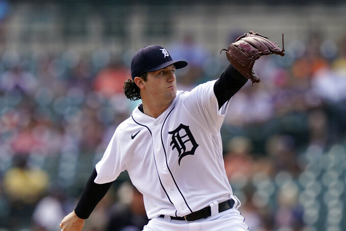 Detroit Tigers starting pitcher Casey Mize throws during the second inning of a baseball game against the Minnesota Twins, Monday, Aug. 30, 2021, in Detroit. (AP Photo/Carlos Osorio)