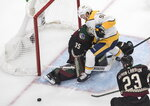 Nashville Predators' Ryan Johansen (92) crashes into Arizona Coyotes goalie Darcy Kuemper (35) during first period NHL qualifying round game action in Edmonton, on Wednesday, Aug. 5, 2020. (Jason Franson/The Canadian Press via AP)