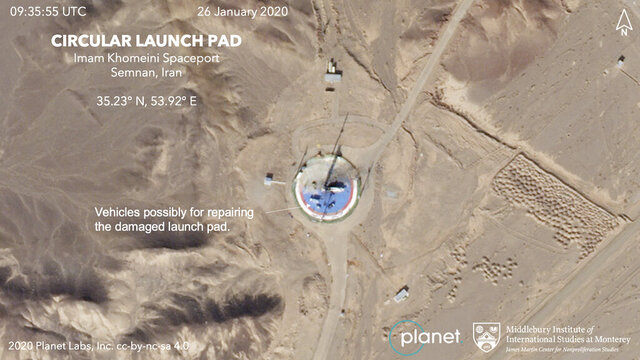 This Jan. 26, 2020, satellite image from Planet Labs Inc. that has been annotated by experts at the James Martin Center for Nonproliferation Studies at Middlebury Institute of International Studies shows preparations at a rocket launch pad at the Imam Khomeini Space Center in Iran's Semnan province. Iranian officials and satellite images suggest the Islamic Republic is preparing to a launch a satellite into space after three major failures last year, the latest for a program which the U.S. claims helps Tehran advance its ballistic missile program. (Planet Labs Inc, Middlebury Institute of International Studies via AP)