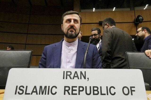 Iran's Ambassador to the International Atomic Energy Agency, IAEA, Gharib Abadi, waits for the start of the IAEA board of governors meeting at the International Center in Vienna, Austria, Thursday, Nov. 21, 2019. (AP Photo/Ronald Zak)