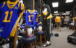Los Angeles Rams wide receiver Josh Reynolds cleans out his locker at the team's training camp Tuesday, Feb. 5, 2019, in Thousand Oaks, Calif. (AP Photo/Mark J. Terrill)