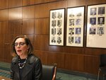 File - In this Feb. 7, 2019, file photo, Oregon Gov. Kate Brown speaks to reporters in front of pictures of previous state governors in Salem, Ore. Gov. Brown deployed the state police Thursday, June 20, 2019, to try to round up Republican lawmakers who fled the Capitol in an attempt to block a vote on a landmark climate plan. Minority Republicans want the cap and trade proposal aimed at dramatically lowering the state's greenhouse gas emissions by 2050 to be sent to the voters for approval instead of instituted by lawmakers. (AP Photo/Andrew Selsky, File)