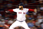 Boston Red Sox starting pitcher Eduardo Rodriguez throws during the seventh inning of the team's baseball game against the Minnesota Twins, Wednesday, Sept. 4, 2019, in Boston. (AP Photo/Mary Schwalm)
