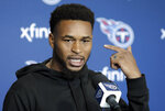 Tennessee Titans safety Kevin Byard answers questions during a news conference Monday, April 15, 2019, in Nashville, Tenn. The Titans are trying to figure out how to improve after three straight 9-7 seasons as the team begins their offseason program. (AP Photo/Mark Humphrey)