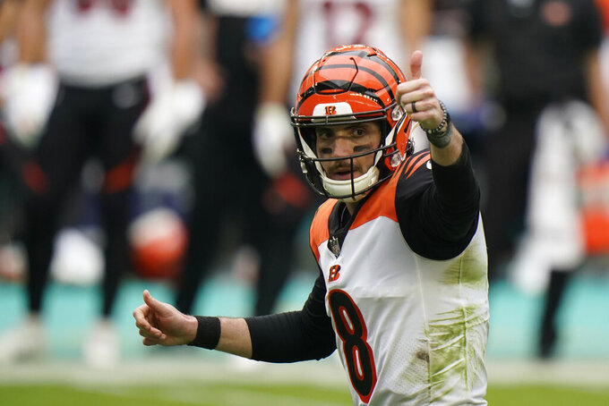 Cincinnati Bengals quarterback Brandon Allen (8) gestures during the first half of an NFL football game against the Miami Dolphins, Sunday, Dec. 6, 2020, in Miami Gardens, Fla. (AP Photo/Wilfredo Lee)