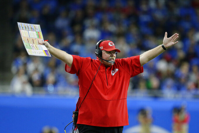 Kansas City Chiefs head coach Andy Reid gestures during the first half of an NFL football game against the Detroit Lions, Sunday, Sept. 29, 2019, in Detroit. (AP Photo/Duane Burleson)