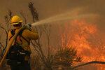 Jesse Vasquez, of the San Bernardino County Fire Department, hoses down hot spots from the Bobcat Fire on Saturday, Sept. 19, 2020, in Valyermo, Calif. (AP Photo/Marcio Jose Sanchez)