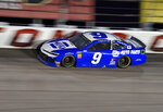 Chase Elliott (9) drives out of Turn 1 during a NASCAR Cup Series auto race on Sunday, Sept. 1, 2019, at Darlington Raceway in Darlington, S.C. (AP Photo/Richard Shiro)