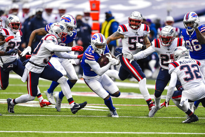 Buffalo Bills wide receiver Stefon Diggs (14) runs after making a catch during the second half of an NFL football game against the New England Patriots Sunday, Nov. 1, 2020, in Orchard Park, N.Y. (AP Photo/Adrian Kraus)