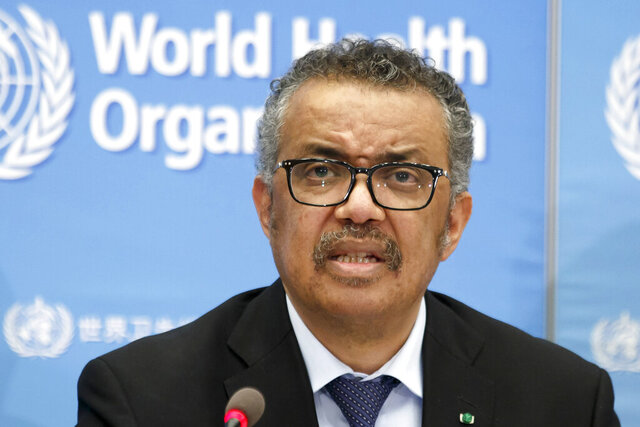 FILE - In this Feb. 24, 2020, file photo, Tedros Adhanom Ghebreyesus, Director General of the World Health Organization (WHO), addresses a press conference about the update on COVID-19 at the World Health Organization headquarters in Geneva, Switzerland. Taiwan's foreign ministry on Thursday, April 8, 2020 strongly protested accusations from the head of the World Health Organization that it condoned racist personal attacks on him that he alleged were coming from the self-governing island democracy.  (Salvatore Di Nolfi/Keystone via AP, File)