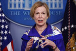 Dr. Deborah Birx, White House coronavirus response coordinator, speaks with reporters about the coronavirus in the James Brady Briefing Room of the White House, Friday, May 22, 2020, in Washington. (AP Photo/Alex Brandon)