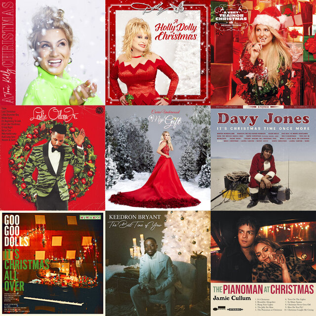 CORRECTS UNDERWOOD'S ALBUM TITLE - This combination photo shows holiday album covers, top row from left,