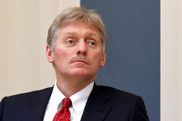 FILE - In this Tuesday, April 14, 2020 file photo, Kremlin spokesman Dmitry Peskov attends a video conference with Russian President Vladimir Putin at a situation center in the Kremlin in Moscow, Russia. Dmitry Peskov and other Russian officials on Wednesday, July 29 rejected accusations that Moscow is spreading disinformation about the coronavirus pandemic in the U.S., slamming them as