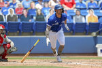 Toronto Blue Jays' Randal Grichuk doubles in two runs in front of Philadelphia Phillies catcher Rafael Marchan during the second inning of a baseball game Sunday, May 16, 2021, in Dunedin, Fla. (AP Photo/Mike Carlson)