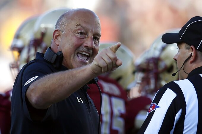 Boston College head coach Steve Addazio argues a call during the first half of an NCAA college football game against Wake Forest in Boston, Saturday, Sept. 28, 2019. (AP Photo/Michael Dwyer)
