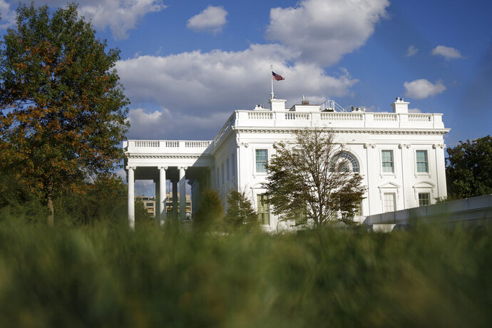 FILE - This Tuesday, Sept. 24, 2019, file photo shows the White House in Washington.  (AP Photo/Carolyn Kaster, File)