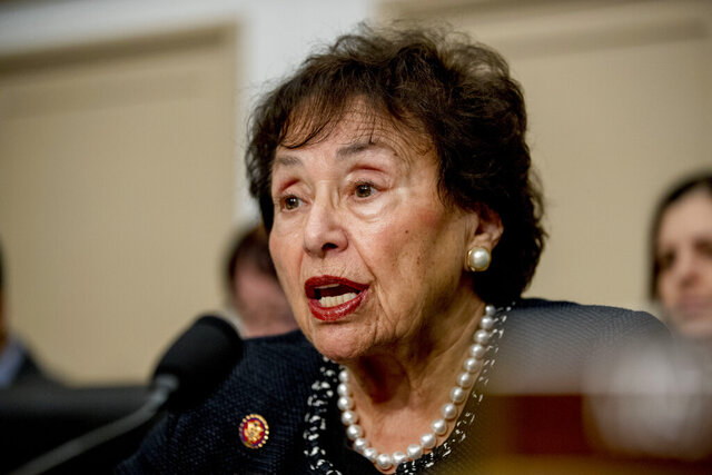 FILE - In this March 10, 2020, file photo, full committee Chairwoman Nita Lowey, D-N.Y., speaks during a House Appropriations subcommittee hearing on the Centers for Disease Control and Prevention budget on Capitol Hill in Washington. Eyeing a major expansion of federal assistance, top Democrats are promising that small- to medium-sized cities and counties and small towns that were left out of four prior coronavirus bills will receive hundreds of billions of dollars in the next one. It's an effort that the large class of freshman House Democrats has rallied around, along with many Republicans, and has the backing of key decision-makers like Lowey, and House Speaker Nancy Pelosi. (AP Photo/Andrew Harnik, File)