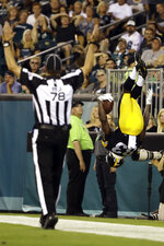 Pittsburgh Steelers' Damoun Patterson celebrates after scoring a touchdown during the first half of the team's preseason NFL football game against the Philadelphia Eagles, Thursday, Aug. 9, 2018, in Philadelphia. (AP Photo/Matt Rourke)