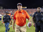 FILE - In this Sept. 22, 2018, file photo, Auburn head coach Gus Malzahn walls off the field with a 34-3 win over Arkansas in an NCAA college football game, in Auburn, Ala. While at least one coach has been fired already in each of the other Power Five conferences, the SEC doesn't have anyone on an obvious hot seat heading into the final weekend of the regular season. Barring a surprise move, 2019 would mark the first time since 2006 that the SEC begins a season with no new head coaches. (AP Photo/Vasha Hunt, File)
