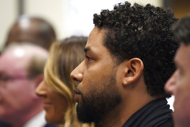 Actor Jussie Smollett appears in a courtroom at the Leighton Criminal Court Building in Chicago on Feb. 24, 2020, where he plead not guilty to restored charges that accuse him of staging a racist, homophobic attack against himself and falsely reporting it to police. (Brian Cassella/Chicago Tribune via AP, Pool)