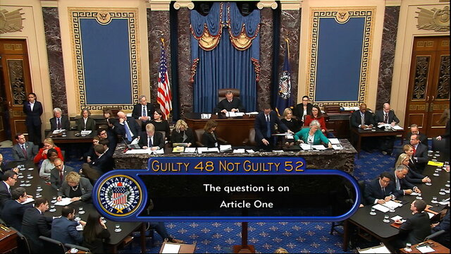 In this image from video, the vote total, 52-48 for not guilty, on the first article of impeachment, abuse of power, is displayed on screen during the impeachment trial against President Donald Trump in the Senate at the U.S. Capitol in Washington, Wednesday, Feb. 5, 2020. (Senate Television via AP)
