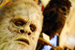 This Aug. 8, 2019, photo shows Bigfoot masks on display at Expedition: Bigfoot! The Sasquatch Museum in Cherry Log, Ga. The owner of this intriguing piece of Americana at the southern edge of the Appalachians is David Bakara, a longtime member of the Bigfoot Field Researchers Organization who served in the Navy, drove long-haul trucks and tended bar before opening the museum in early 2016 with his wife, Malinda. (AP Photo/John Bazemore)
