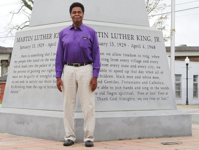 In this Jan. 16, 2020 photo,  Joseph 'Sonny' Vickers, poses at the Rev. Dr. Martin Luther King Jr. Memorial Park, in Valdosta, Ga. The Valdosta city councilman said he believes African Americans have made great strides since the historical era of slavery and segregation. (Amanda M. Usher/The Daily Times via AP)
