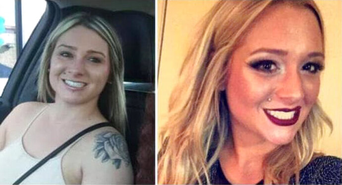 These undated images provided by the Richmond, Ky. Police Department show, Savannah Spurlock. 23, who was last scene leaving a Lexington, Ky., bar with several men on Jan. 4, 2019. Kentucky State Police say human remains have been found during a search for a woman who disappeared in January. Trooper Robert Purdy tells news outlets the remains were found Wednesday, July 10, 2019, in a residential neighborhood in Garrard County. Police say a tip reported led authorities to search the property, which belongs to relatives of a suspect. (Richmond, Ky. Police Department via AP)