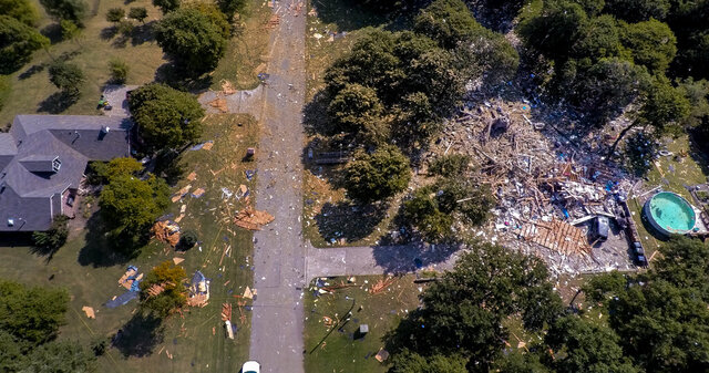 This drone aerial photo shows a home that exploded in the 8000 block of NE 139th St. in Oklahoma City killing one and injuring three others, Thursday, Sept. 24, 2020. (Chris Landsberger/The Oklahoman via AP)