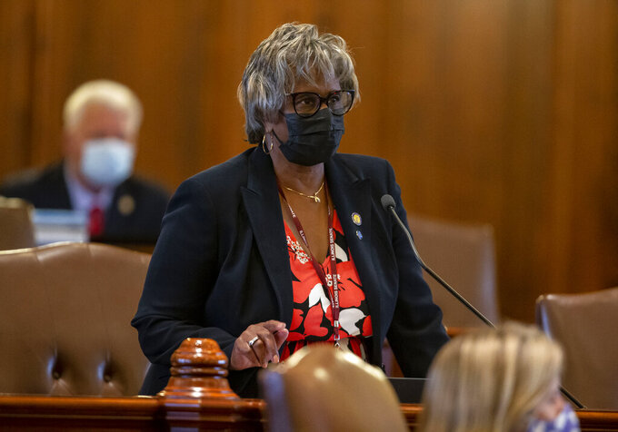 Illinois State Sen. Doris Turner, D-Springfield, asks a question about the decarbonization requirements for Springfield's Dallman Power Station during debate of Senate Bill 2048, a comprehensive energy proposal, on the floor of the Illinois Senate at the Illinois State Capitol in Springfield, Ill., Monday, Sept. 13, 2021. (Justin L. Fowler/The State Journal-Register via AP)