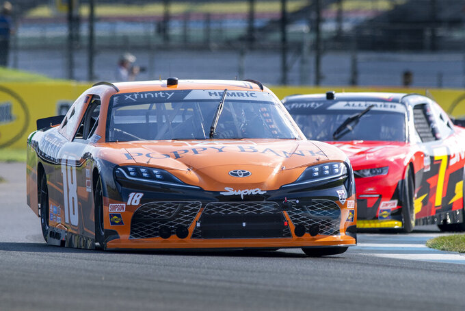 Daniel Hemric (18) during practice for the NASCAR Xfinity Series auto race at Indianapolis Motor Speedway, Friday, Aug. 13, 2021, in Indianapolis. (AP Photo/Doug McSchooler)