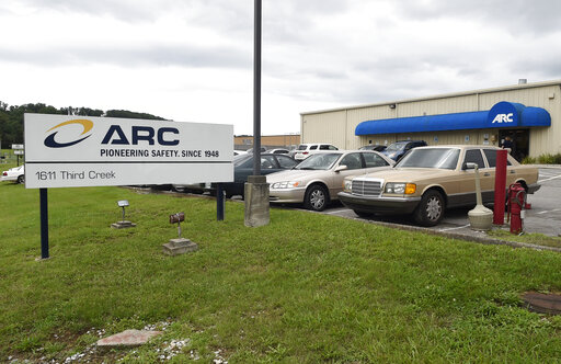 FILE- This July 14, 2015, file photo shows the ARC Automotive manufacturing plant in Knoxville, Tenn. A second person has been killed by an exploding air bag inflator made by a Tennessee company that has been under investigation by a federal agency for more than six years without any resolution. On Wednesday, Oct. 13, 2021, the National Highway Traffic Safety Administration posted recall documents filed by General Motors that revealed the second death, the driver of a 2015 Chevrolet Traverse SUV with an ARC inflator that blew apart, spewing shrapnel. (Adam Lau/Knoxville News Sentinel via AP)