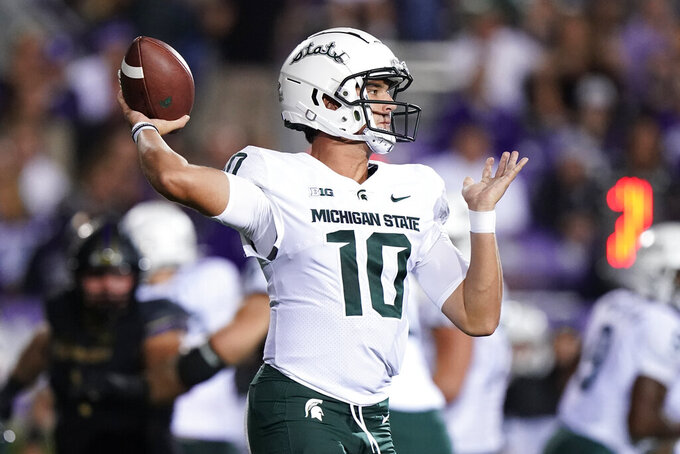 Michigan State quarterback Payton Thorne throws a pass against Northwestern during the first half of an NCAA college football game in Evanston, Ill., Friday, Sept. 3, 2021. (AP Photo/Nam Y. Huh)