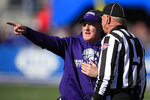 Kansas State head coach Chris Klieman, left, talks with head linesman John Braun, right, during the first half of an NCAA college football game against Kansas in Lawrence, Kan., Saturday, Nov. 2, 2019. (AP Photo/Orlin Wagner)