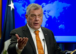 Michael Kozak, ambassador for the Bureau of Democracy, Human Rights, and Labor speaks during the release of the 2018 Country Reports on Human Rights Practices at the Department of State in Washington, Wednesday, March 13, 2019. (AP Photo/Jose Luis Magana)