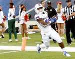 Louisiana Tech's Israel Tucker makes the first touchdown ofan NCAA college football game against Miami during the first half of the Independence Bowl, Thursday, Dec. 26, 2019, at Independence Stadium in Shreveport, La. (Henriette Wildsmith/The Shreveport Times via AP)