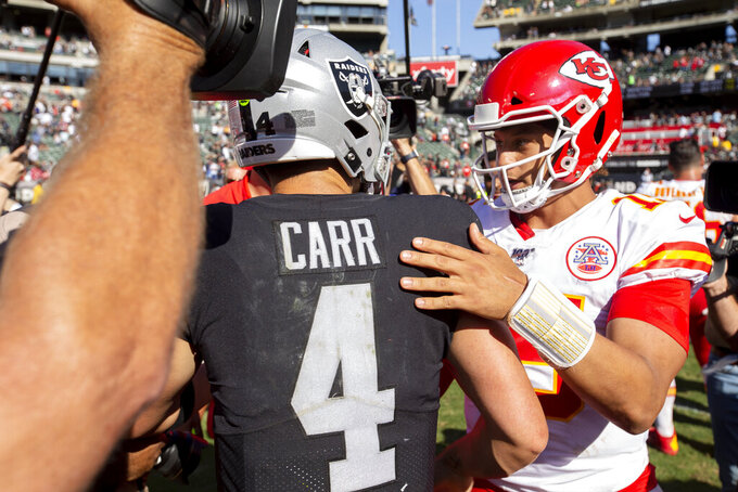 Kansas City Chiefs quarterback Patrick Mahomes, right, greets Oakland Raiders quarterback Derek Carr at the end of an NFL football game Sunday, Sept. 15, 2019, in Oakland, Calif. Kansas City won the game 28-10. (AP Photo/D. Ross Cameron)