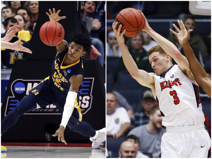 In this combination of NCAA college basketball tournament photos, Murray State's Ja Morant, left, scrambles for the ball on March 21, 2019, in Hartford, Conn., and Belmont's Dylan Windler, right, rebounds March 19, 2019, in Dayton, Ohio. Morant and Windler were two of the top stories of the tournament's first week, leading their mid-major conference teams to victories. Those wins will be paying dividends for years to come for the Ohio Valley Conference. (AP Photos)