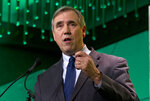 FILE - In this Jan. 24, 2019, file photo Sen. Jeff Merkley, D-Ore., speaks during the U.S. Conference of Mayors meeting in Washington. Democrats hoping to unseat President Donald Trump in 2020 are dancing with the freshman stars these days in an unprecedented pursuit of still-green lawmakers in an institution driven by seniority. For these political suitors, there's credibility to be gained from the younger, more diverse and social media-savvy members of the biggest freshman class since Watergate. (AP Photo/Jose Luis Magana, File)