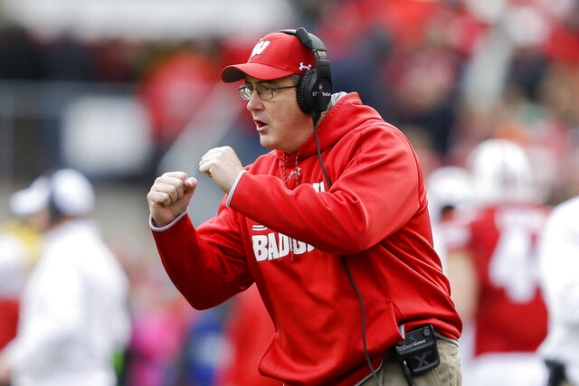 FILE - In this Oct. 12, 2019, file photo, Wisconsin head coach Paul Chryst gestures during the first half of an NCAA college football game in Madison, Wis. Wisconsin will head into spring practice with plenty of questions as the Badgers attempt to replace their top playmakers from a team that reached the Rose Bowl last season. (AP Photo/Andy Manis, File)